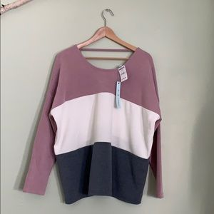 She and sky tri-colored block sweater